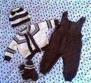 В таком комплекте Вашему ребенку будет тепло и уютно. Штанишки+кофточка+шапочка+носочки.Возможны различные цвета и модели по Вашему выбору.