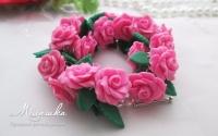 Браслет из полимерной глины, цветы и листочки ручной работы, каждый цветок сделанный вручную. Длина браслета не регулируется, застежка тогл