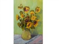 """Картина """"Букет осінніх соняшників"""" виконана маслом на полотні, розміри 40 см на 60 см."""