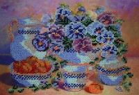 Ручна робота, виготовлена в техніці часткової вишивки бісером по тканині з нанесеним малюнком. Розмір 18*26 см Кількість кольорів - 15.