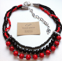 Классическое сочетание !Красно- черное колье из гематита и мрамора. Приглашаем на нашу страничку, где Вы сможете увидеть полную коллекцию украшений  Https://m.vk.com/id327011753 или https://instagram.com/tandemjewelry_
