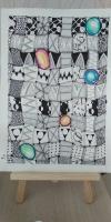 Картина в стилі Зенарт прикрасить ваш дім або офіс. Формат А3, папір 300 гр/м, чорний лінер, пастельні олівці.