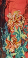Ручна робота, виготовлена в техніці часткової вишивки бісером по тканині з нанесеним малюнком. Розмір 15*30 см Кількість кольорів - 8.