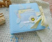 Міні-альбом для зберігання фото першого року малюка ( по 1 фото на кожен місяць, тобто всього альбом вміщує 12 фото).Палітура зроблена з картону, обкладинка із бавовняної тканини.