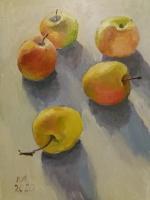 Натюрморт з яблуками виконаний маслом на грунтованому картоні, розміри 30 см на 40 см.