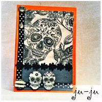 Блестящая открытка с черепами и стразами