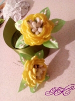 шпилька для волосся, трояндочка жовтого кольору