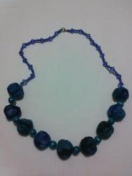 """Ожерелье сделано из """"сожмуренных"""" тканевых бусин, бисера и бусин. Длина-74см"""