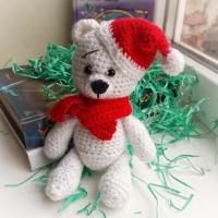 Авторька іграшка ручної роботи,  Ведмедик Санта,  зв