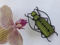 «Жук Шпанка»  - Витражная брошь ручной работы, изготовлена в технике «Тиффани» Природа не перестаёт нас удивлять своими чудесами! На нашей планете существует отдельный огромный мир – это мир насекомых. Такой огромный, и разнообразный, таинственный, и загадочный. Носите эту брошь на плече, украсьте жуком свой шарф. Очень эффектно брошь смотрится на сумке. Ваш образ будет элегантным, и стильным. Брошь  ручной работы, изготовлена из витражного стекла, сзади прикреплена металлическая булавка Размер броши: ширина – 45 мм                               высота   - 70 мм   Материал : Стекло, медная фольга, припой, патина, медная проволока Каждый витражный декор надежно упакован в коробку для доставки его клиенту в отличном состоянии. Инструкция по уходу: 1.Промойте под холодной водой 2.Дайте изделию высохнуть
